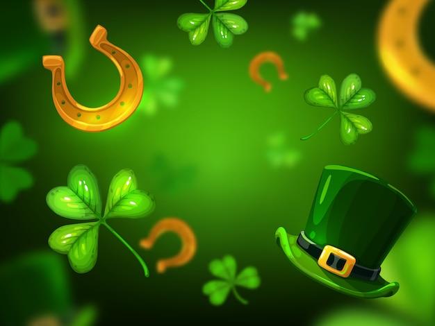 アイルランドの休日の緑のクローバーまたはシャムロックの葉、幸運の金色の蹄鉄とケルトのレプラコーン帽子の聖パトリックの日の背景。春祭りやアイルランドの聖饗宴のお祝いの背景デザイン