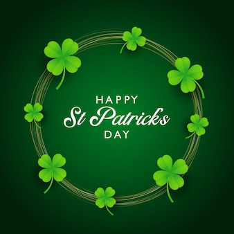 St patricks day background with clover and gold circles