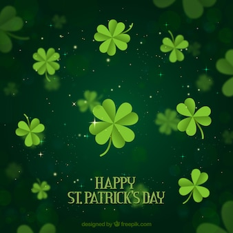 St patricks day background with cloverleaves