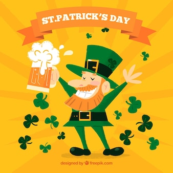 St patricks day background with happy man holding beer