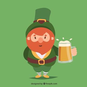Priorità bassa di giorno della st patricks con la birra della holding dell'uomo