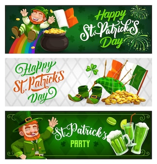 St. patricks day banners, cartoon leprechaun in green top hat riding down rainbow.