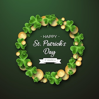 St. patricks day card. wreath with clover leaves and coins.