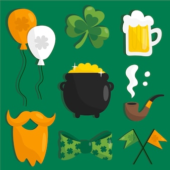 St. patricks day element collection in flat design