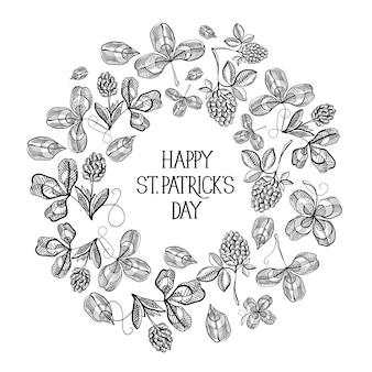 碑文とスケッチアイルランドのクローバーベクトルイラストと聖パトリックの日花のラウンド構成グリーティングカード