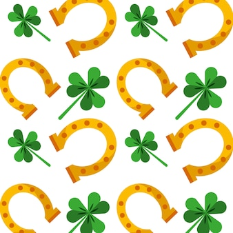 St patricks day gold horseshoe and clovers background