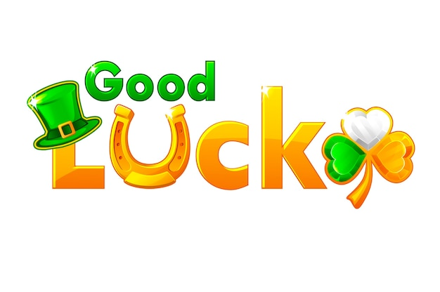 On st. patricks day golden inscription good luck. gold lettering with clover holiday symbol