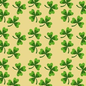 St patricks day green clovers seamless pattern design