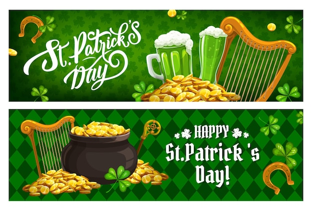 St. patricks day irish holiday banners