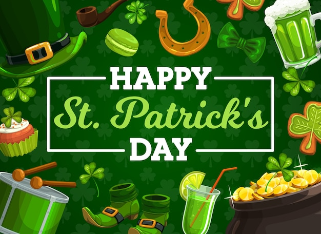 St patricks day irish holiday clovers, leprechaun gold pot and hat, shamrock leaves, lucky horseshoe, green beer and golden coins, treasure cauldron, smoking pipe, shoes. greeting card design