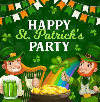 St patricks day irish holiday party poster. irishmen with leprechaun hats