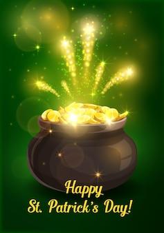 聖パトリックの日アイルランドのレプラコーン宗教の休日のゴールドポットのデザイン Premiumベクター