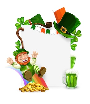 St. patricks day leprechaun cartoon frame