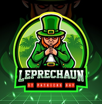 St. patricks day leprechaun mascot esport logo design.