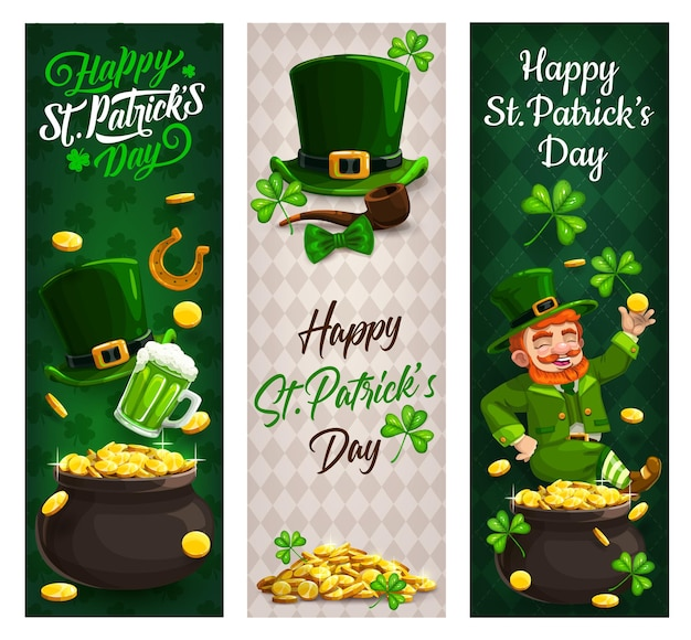 St patricks day leprechaun with gold, clovers banners of irish holiday