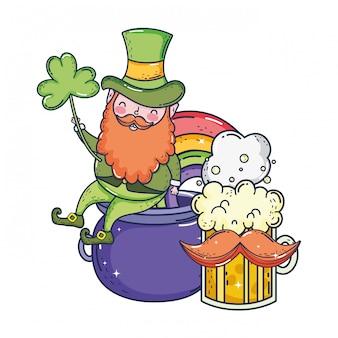 St patricks day leprechaun with ireland flag