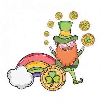 St patricks day leprechaun with treasure coins