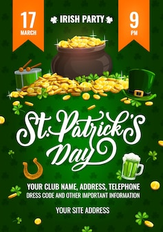 St. patricks day party flyer, cartoon poster with leprechaun pot