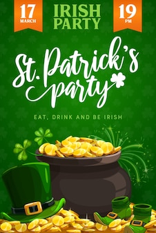 St. patricks day party flyer or poster of irish religion holiday. leprechaun treasure pot with gold, green clover leaves and lucky shamrock, golden coins, hat and shoes, irish pub party design