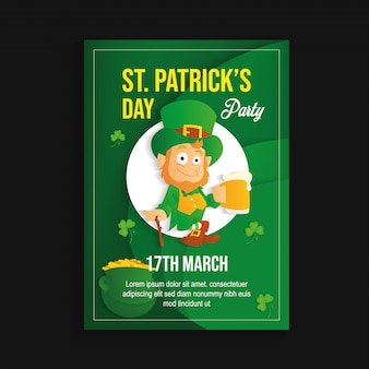 St patricks day party flyer vector