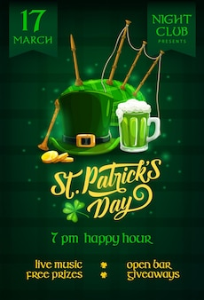 St. patricks day party flyer with cartoon leprechaun hat