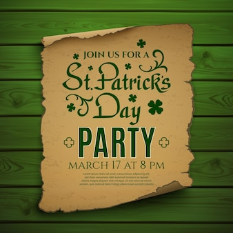 St. patricks day party. invitation poster, flyer or brochure template.