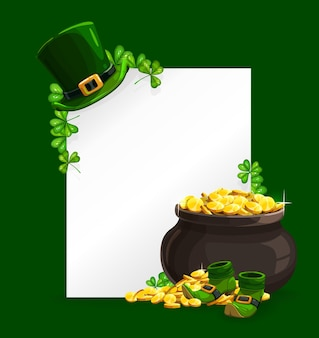 St. patricks day poster with leprechaun hat