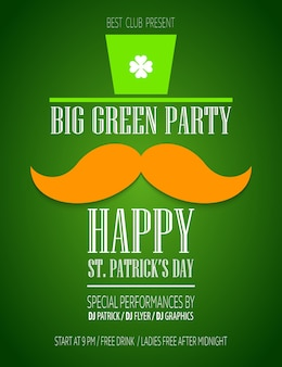 St. patricks day poster with a mustache and hat