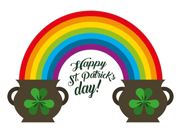St patricks day pots clover and rainbow symbol