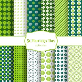클로버의 녹색 잎으로 설정 세인트 patricks 일 완벽 한 패턴 배경