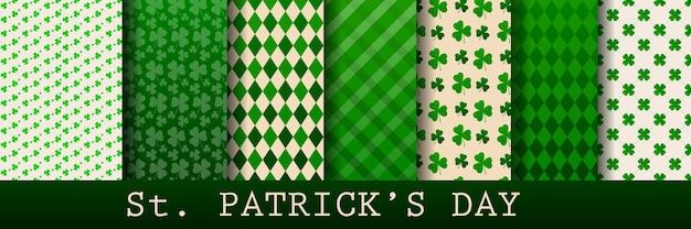 クローバーの緑の葉で設定された聖パトリックの日のシームレスなパターン