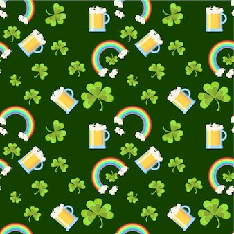 St. patricks day seamless pattern with clover leaves