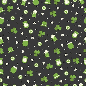 St patricks day seamless pattern with irish man, clover, leprechaun hat, beer on black background. greeting, wrapping paper and wallpaper  .