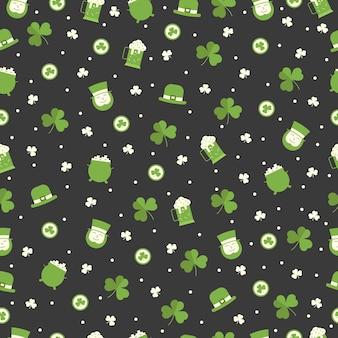 アイルランド人、クローバー、レプラコーンの帽子、黒の背景にビールと聖パトリックの日のシームレスなパターン。挨拶、包装紙、壁紙。
