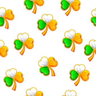 St. patricks day seamless pattern with jewellery clover. gemstones shape shamrocks, trefoils.