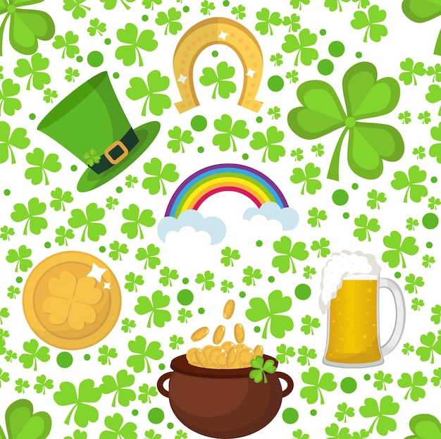 St. patricks day seamless prattern background with clover, shamrock and leprechaun hat.