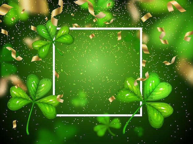 St. patricks day shamrock with clover on green blurred Premium Vector