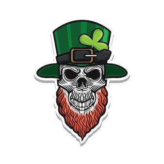 St patricks day skull illustration