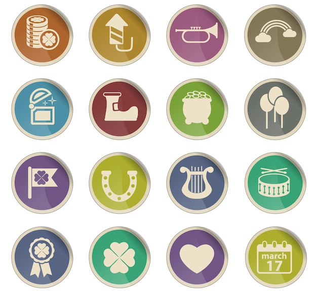 St patricks day vector icons in the form of round paper labels