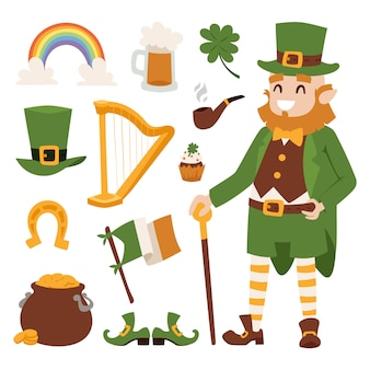 St. patricks day vector icons and leprechaun