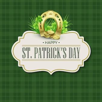 Дизайн значка праздника дня святого патрика винтажный. иллюстрация