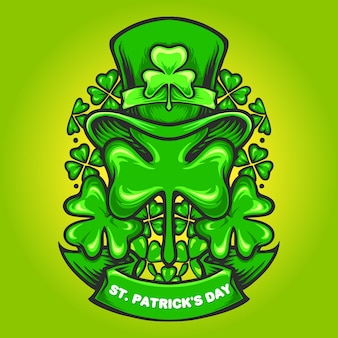 St patricks hat ornaments clover with banner illustration