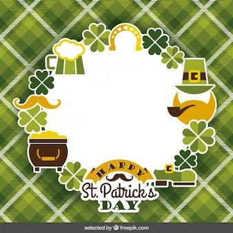 St. Patricks label on gingham background