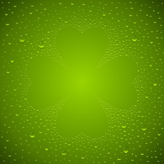 St. patricks's day background with clover leaf and water droplets