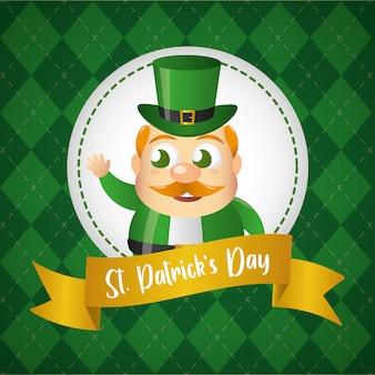 Поздравительная открытка ярлыка зеленого гнома, день счастливого st. patricks