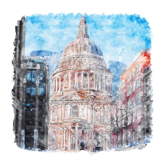 Собор святого павла в лондоне акварельный эскиз рисованной иллюстрации