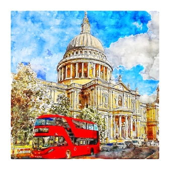 St pauls cathedral london watercolor sketch hand drawn illustration