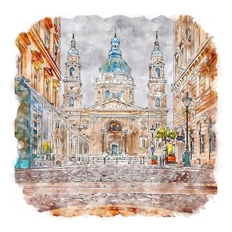 聖イシュトバーン大聖堂ハンガリー水彩スケッチ手描きイラスト