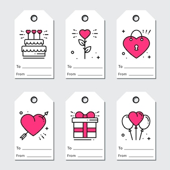 St Valentine's day gift tags.