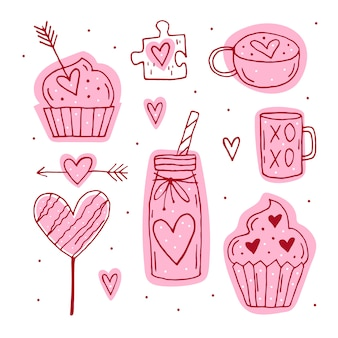 St.valentine`s day set of elements, clipart, stickers.cup, puzzle, muffin, cocktail, arrow, candy, hearts line art. hand drawn s.